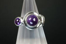 Vintage sterling silver and Amethyst cabochon ring , purple, cabochon gemstones