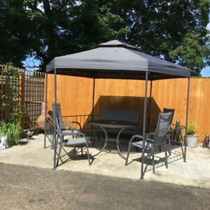 Modern Simplistic Gazebo Outdoor BBQ Party Canopy Steel Event Tent Anthracite