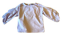 Women's PRIMARK Puffy-Sleeve Blouse. Blue/white Small Striped. Sz 8 US.