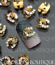 #CA062 3D Bijoux ongles décorations nail art tip noir et doré et strass clair