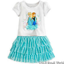 Disney Store Frozen Anna and Elsa Top and Ruffled Skort Set Ice Blue Size 4 NWT