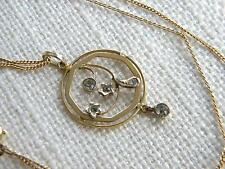 Antique Victorian 9ct Gold paste stone pendant ~ on rolled gold chain ~