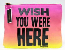 JUICY COUTURE Wish You Were Here Zipper Pouch NWT Multi Color Pink Yellow