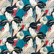 VTG ALEXANDER HENRY FABRIC Sisters of the Golden Temple Geisha BOLD Asian 10 Yd