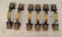 Vtg Hammered Brass Handles Buckle Design Amerock set of 6 For Cabinets / Drawers
