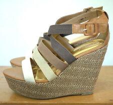 "NEW Bamboo Platform Wedges 5.25"" Heel Canvas Strappy Sandals Heels 11 42.5"