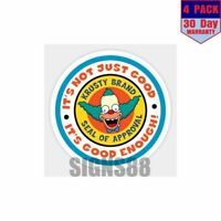 Krusty Brand Seal 4 pack 4x4 Inch Sticker Decal