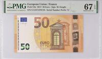 Euro 50 Euro France 2017 P 23 E Prefix UC Superb Gem UNC PMG 67 EPQ High