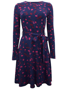 New Classic Joules Navy Jersey Dress Long Sleeve Floral  New sizes 16 18 20