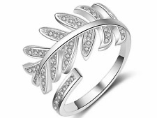 925 silver olive leaf feather memory adjustable ring jewellery present gift