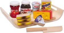 LEGLER Set Colazione Cucina e cibo giocattolo con marmellata, formaggio e nutella