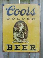 Coors Golden Beer Tin Sign Man Cave Bar Garage Lager Stubby Bottle Brew 15A