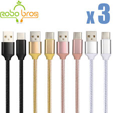 3 Pack Braided USB C Type-C Fast Charging Data SYNC Charger Cable Cord 3/6/10FT