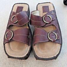 "Frye Sandals 7 M Brown Leather Strap Buckle 1-34"" Platform Wedge Slip On NEW"