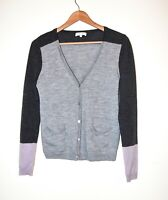 Lovely Kew Cardigan 100% Merino Wool in Grey and Lilac Colour Blocks Size 12