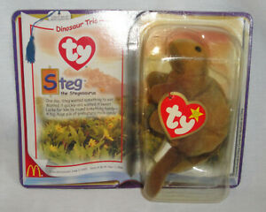 Vtg 1995 TY Teenie Beanie Baby,Plush Steg Dinosaur,Stegosaurus,New,McDonald's