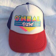 O'neal Vintage Trucker Hat USA Snapback Hat Mesh Foam Cap Red Blue Otto 1970's
