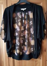 Flower Pattern Black Bolero Style Jacket - Size Small