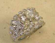 Men's Large Square Nugget Pinky Ring Rhodium Plated CZ New Free Shipping Size 11