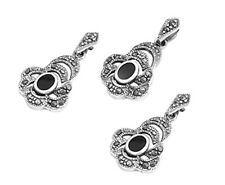 Drop Marcasite Set Silver 925 Pendant & Earrings Vintage Style Jewelry Onyx
