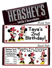 12 Minnie Mouse Red & Black Birthday Party Candy Hershey Bar Wrappers Favors