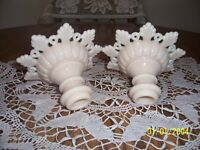 WESTMORLAND GLASS RING & PETAL ALMOND CANDLE HOLDERS