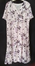 Eastex Chiffon Summer Tea Dress Size 14 Cream Lilac Calf Length Occasion