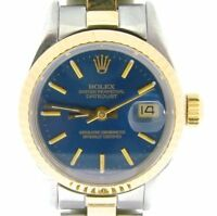 Rolex Datejust Ladies 2Tone 18K Yellow Gold & Steel Watch Oyster Band Blue 69173