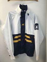 Helly Hansen White Blue Yellow Race Sailing Jacket S Vintage Hood Pockets ZIP