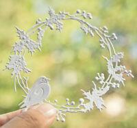 Vogel Blume Ring Metall Stencil Cutting Dies Scrapbooking Karten Stanzschablonen