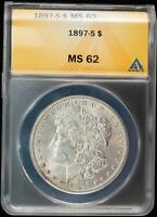 1897-S ANACS MS 62 Morgan Silver Dollar Choice Uncirculated Better Coin
