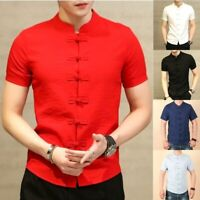 Summer New Men Shirt Fashion Chinese Style Linen Slim Fit Casual Short Sleeve