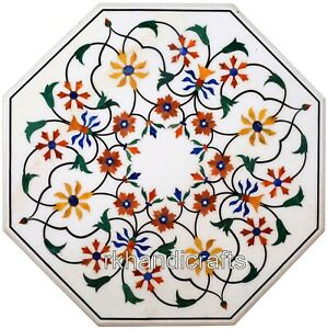 18 Inches Marble Coffee Table Top with Mosaic Art Patio Side Table Home Assents