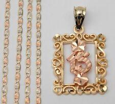 14k yellow Rose Gold 15 Birthday Her Frame Charm Pendant Valentino Chain 20inch