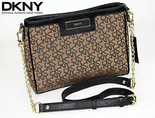 DONNA KARAN CROSS BODY DKNY HANDBAG LEATHER GOLD DESIGNER PURSE DRESS BAG -