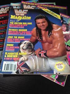WWF WWE Magazine AUGUST 1991 British Bulldog + Merchandise Catalog