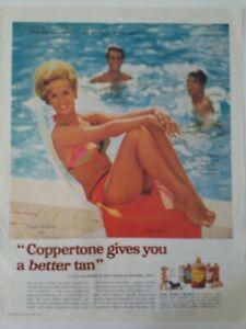 1967 Coppertone sun tan tanning suntan lotion Tippi Hedren vintage ad