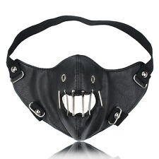Black Leather Metal Bars Mouth Half Face Biker Cosplay Motorcycle Mask SHIELD