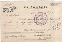 U. S. H. & L. Chase Bag Co. St. Louis Mo.1904 Bags of All Kinds Invoice Rf 39374
