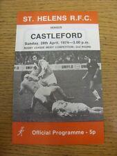 28/04/1974 programma Rugby League: ST. Helens V Castleford [Merit concorrenza] (F