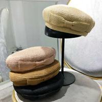 3647d208 Women's Ladies Girls Summer Floppy Straw Bow Beret Cap Beach Sunbonnet Sun  Hat