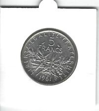 FRANCE 5 Francs Argent Semeuse 1961 Silver coin