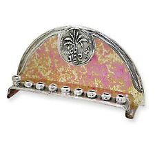 Glass Pink & Yellow & Sterling 925 Silver Menorah Arch Shape ISRAEL By Sherman *