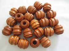 Bag of 24 Large Maple Wood Carved Grooved Macrame Craft Beads 1