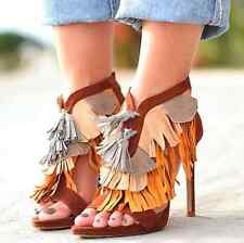ZARA REAL LEATHER HIGH HEEL SANDALS WITH TASSELS SIZE 4 EUR 37
