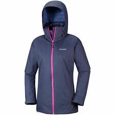 Columbia Interchange Coat Jacket Womens Ladies Full Zip Hood Navy Pink UK Size M