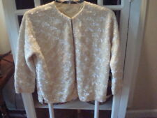 Vintage 50's 60's Cream Wool 100% Sequinned Lined Sweater Sz 40