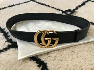 Gucci GG Buckle Belt Womens, 32 inches, black leather, gold GG buckle
