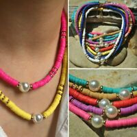 Boho Polymer Clay Pearl Choker Necklace Bead Round Rinbow Flat Women Jewellery