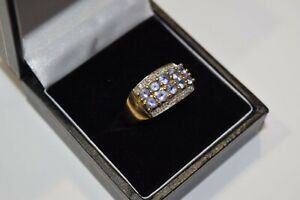 9ct Yellow Gold Purple Stone Double Row Ring